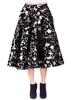 Lanvin Floral Fil Coupé Seamed Tiered Skirt