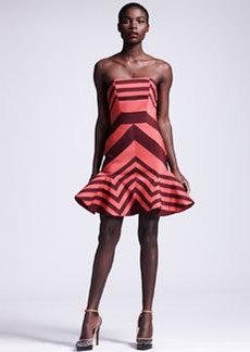 Lanvin Flounce-Skirted Striped Dress
