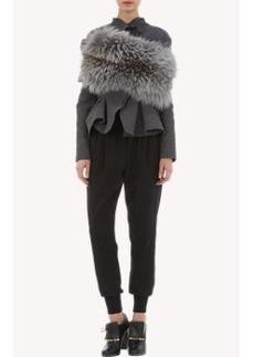 Lanvin Fox Fur & Rib-Knit Combo Infinity Scarf