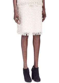 Lanvin Fringe-Bottom Tweed Skirt
