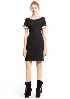 Lanvin Fringe Trim Bateau Neck Sheath Dress