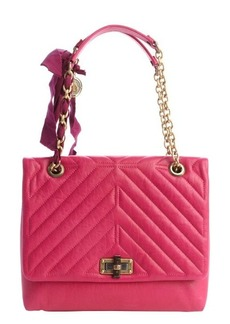 Lanvin fuchsia quilted leather medium 'Happy' chainlink shoulder bag