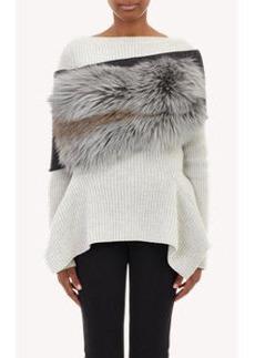 Lanvin Fur & Rib-Knit Infinity Scarf