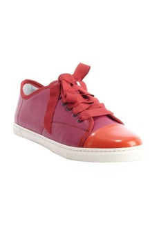 Lanvin fuschia and red leather cap toe sneakers