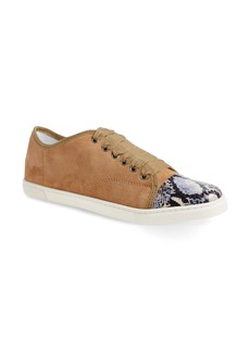 Lanvin Genuine Snakeskin and Goatskin Leather Cap Toe Sneaker (Women)