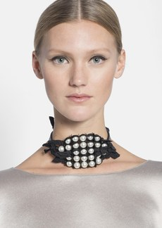 Lanvin Glass Pearl Choker Necklace