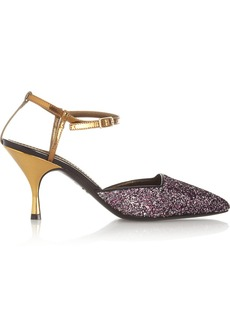 Lanvin Glitter-finished leather pumps