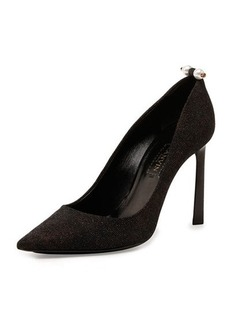 Lanvin Glitter Pearly-Bar Pump, Black
