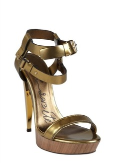 Lanvin gold leather double strapped lacquered heel sandals