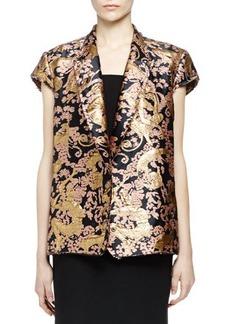 Lanvin Golden Monkey Brocade Short-Sleeve Jacket