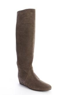 Lanvin grey suede hidden wedge boots