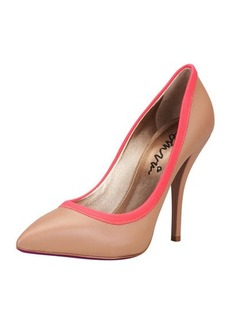 Lanvin Grosgrain-Trim Pointy Pump, Tan/Red
