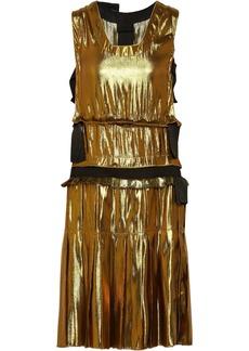 Lanvin Grosgrain-trimmed washed-lamé dress