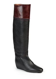 Lanvin Hidden-Wedge Knee-High Leather Boots