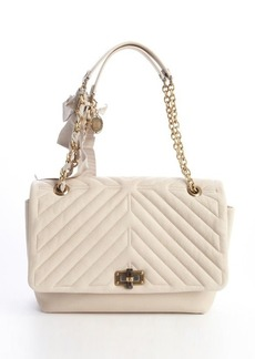 Lanvin ivory quilted leather large 'Happy' chain shoulder bag