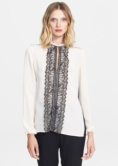 Lanvin Lace Trim Techno Crepe Blouse