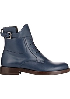 Lanvin Leather Buckle-Strap Boots