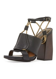 Lanvin Leather Chain-Strap Block-Heel Sandal, Black