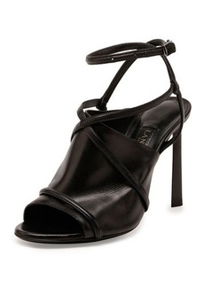 Lanvin Leather Crisscross Glove Sandal, Black