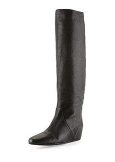 Lanvin Leather Hidden Wedge Knee Boot, Black