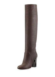 Lanvin Leather Pull-On Knee Boot, Dark Brown