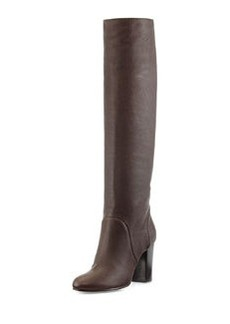 Lanvin Leather Pull-On Knee Boot, Dark Brown