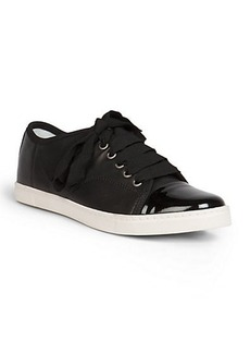 Lanvin Leather Ribbon Lace-Up Low-Top Sneakers