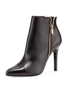 Lanvin Leather Side-Zip Ankle Boot, Black