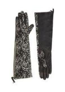 Lanvin Leopard Jacquard & Lambskin Combo Long Gloves