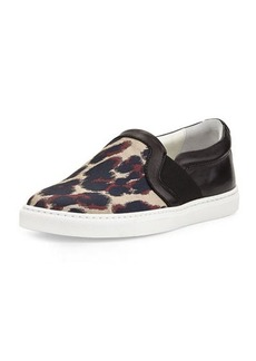 Lanvin Leopard Jacquard & Leather Skate Sneaker