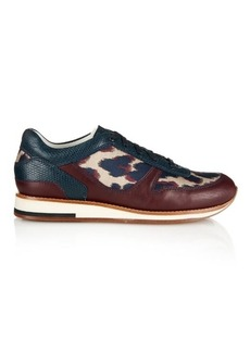 Lanvin Leopard-jacquard and leather trainers