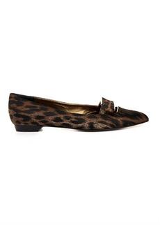 Lanvin Leopard-jacquard bow flats