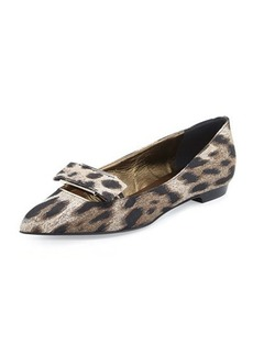 Lanvin Leopard-Print Bow-Buckle Ballerina Flat