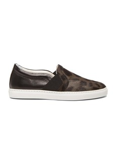 Lanvin Leopard Print Pull On Calf Hair & Leather Sneakers