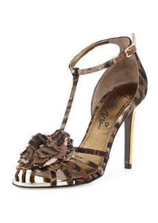 Lanvin Leopard-Print T-Strap Flower Sandal