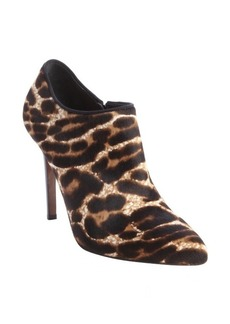 Lanvin light brown leopard print calf hair booties