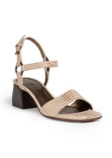 Lanvin Lizard-Embossed Leather Chunky Sandals