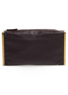 Lanvin Lizard Embossed Leather Clutch