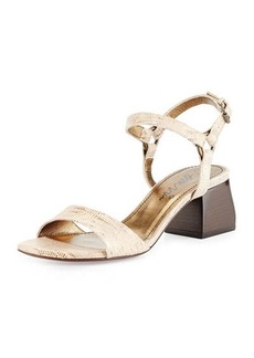 Lanvin Lizard-Print Leather Sandal, Gold