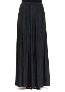 Lanvin Long Pleated Washed Satin Skirt