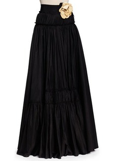 Lanvin Long Tiered A-Line Skirt with Rosettes, Black