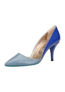 Lanvin Low-Heel Bicolor Pointed Single-Sole Pump, Blue