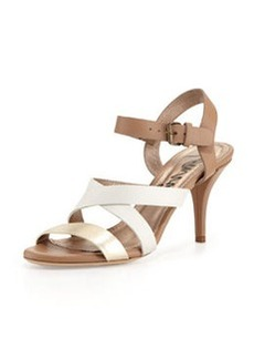 Lanvin Low-Heel Strappy Leather Sandal, Off White