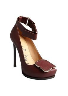 Lanvin maroon pebbled leather ankle strap stub toe pumps