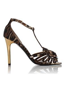 Lanvin Metal-Heel T-Strap Sandals