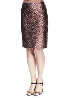 Lanvin Metallic Brocade Skirt, Light Pink
