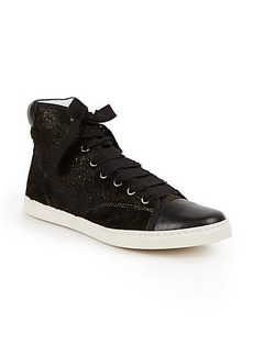Lanvin Metallic Calf Hair & Leather High-Top Sneakers