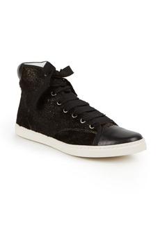 Lanvin Metallic Calf Hair & Leather High-Top Sneakers