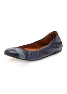 Lanvin Metallic Cap-Toe Ballerina Flat, Midnight Blue