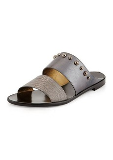 Lanvin Metallic Double-Band Sandal, Silver